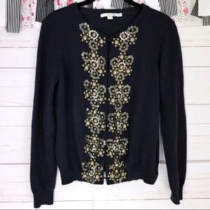 Boden Cashmere Button Sequin Embroidered Sweater